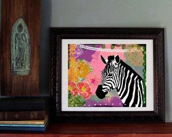 Zebra Art Print - Colorful Animal Art -  Mixed Media Collage - Poster