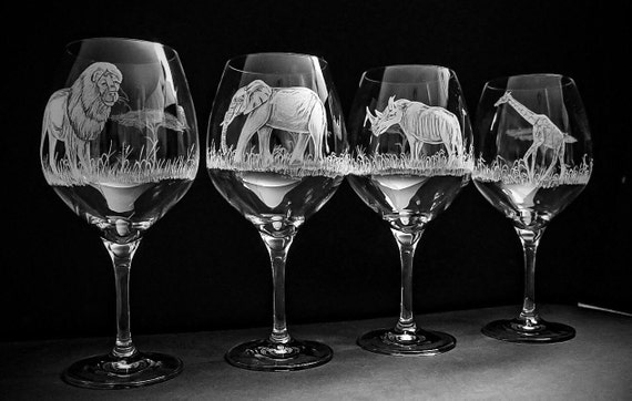 African Wildlife set of 4, wedding, renaissance, gift set, lion, elephant, giraffe, rhino, home decor, barware, wineglass, handengraved