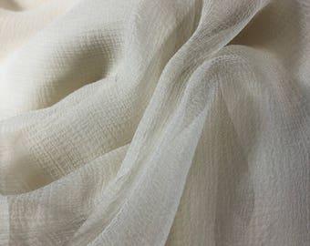 """3yd Remnant 100% Silk Crinkle Chiffon 55""""w soft white"""