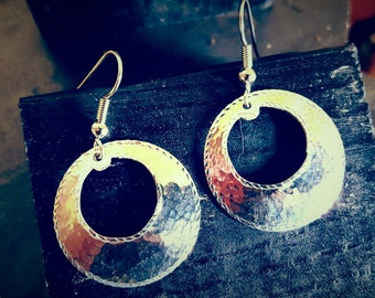 Sterling silver earrings, hammered finish