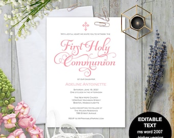 First communion invitation, Girl first communion invite, Printable first communion, first holy communion , Invitation template, #S4-FCIG