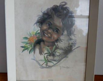 Vintage Peg Maltby print of an aboriginal girl 'Nibiana' with koala