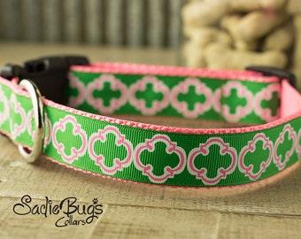 St. Patricks Day Quatrefoil dog collar -  Green and Pink