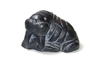 CARVED STONE WALRUS Figurine Alaska Souvenir Stone Walrus Paperweight Fathers Day Gift Office Man Cave