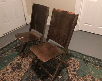 Theatre chairs, vintage wood folding chairs, wedding