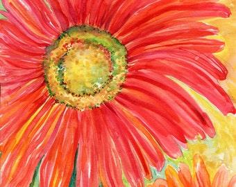 Red Gerbera Daisy Original Watercolor Painting, 8 x 10 Flower Painting, Floral Wall Art - watercolor painting, SharonFosterArt