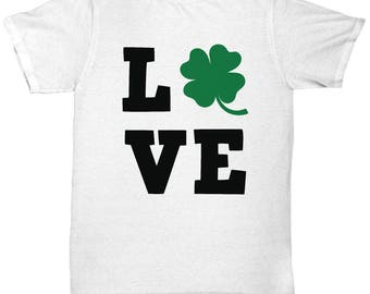 Love St. Patty St. Patrick's Day Four Leaf Clover T Shirt White