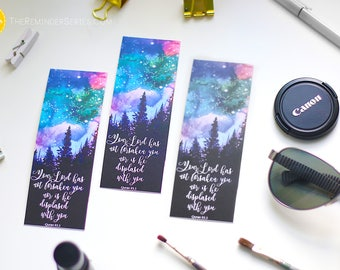 Islamic Bookmarks Set, galaxy bookmarks, outer space, universe, islamic stationary, Quran bookmarks, your lord has not forsaken you