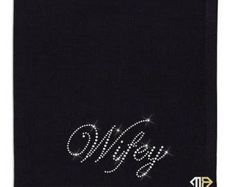 Wifey Rhinestone Napkin - Custom Rhinestone Napkins - Crystal Embellished Napkins - Dinner Napkins - Diamante Napkins