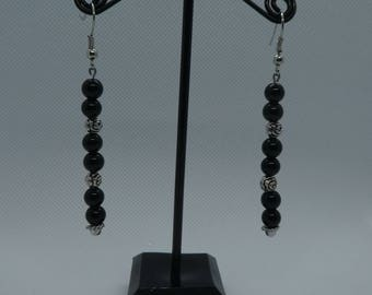Pendant earrings Black-Silver beads
