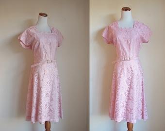 Vintage 1940s Dress, Pink Lace Dress, Short Sleeve Dress, Scallop Pleated Neckline, A Line Dress, A Line Dress, Metal Zipper Dress, Large XL