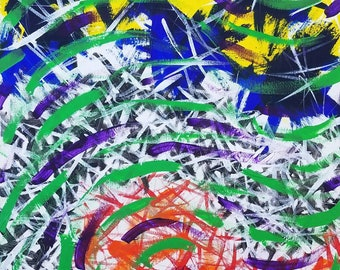"Yellow, Blue, Purple, Green, White, Black, Orange Original Acrylic Abstract Painting on Canvas ""Series 3 VII"" 16x20"" Wall Art Decor"