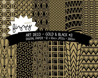 12 x  Art Deco Great Gatsby 1920s 1930s Gold Black (No.3) Patterned Digital Paper Clipart  with Instant Download. MPS0037