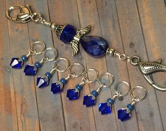 Angel Stitch Marker Holder Set | Knitting Gift | Snag Free Blue Stitch Marker