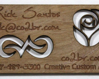Custom Wood Business Card - Unique Wood Cards - Laser cut and engrave - Personalized Wood Business Card - Solid wood bus card- Free Shipping