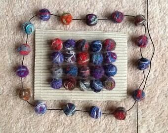 Harris Tweed bead necklace