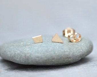 Tiny Quadrilateral Earring Studs In 9ct Yellow Gold, Simple Earring Studs, Handmade In England