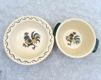 "Metlox California Rooster Bowls - 10"" & 9"" - ca 60s - midcentury kitchen serving"