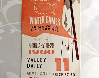 Original Ticket to the 1960 Winter Olympics, Day 11, including Closing Ceremony