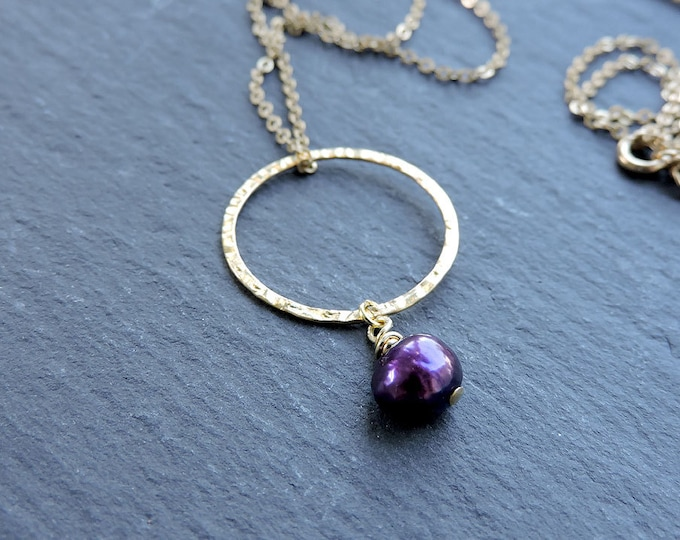 Silver Karma & Purple Pearl Pendant - hammered gold ring - Long ring necklace, dark vibrant purple Freshwater baroque pearl drop