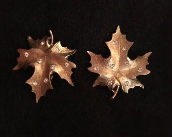 Maple Leaf Gold Tone & Rhinestone Clip-on Earrings Sarah Coventry