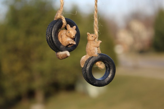 2-Set Sammy's Playtime Squirrels on Tire Swings (Pair Incl Squirrels inside and outside of Tire Swings)