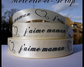 Satin ribbon I love MOM 25mm the meter beige heart 03