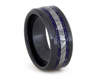 Unique Meteorite Ring, Black Ceramic Wedding Band With Blue Enamel And Gold, Handmade Stardust Ring