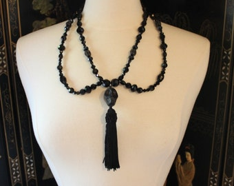 Spiritualist Collar ~ Statement Necklace with Glass Jet Beading, Silk Tassel and Howlite Skulls. - To order