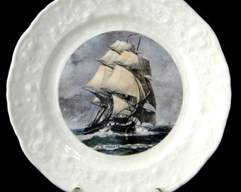 Frigate US Constitution 1970s Souvenir Ironstone Large Plate Sailing Ship Charger Nautical Maritime