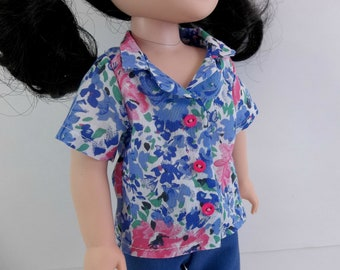 """Doll Outfit for 14.5"""" Doll Blue Pants and Floral Button Shirt Fits Wellie Wishers Hearts 4 Hearts and Similar Dolls"""
