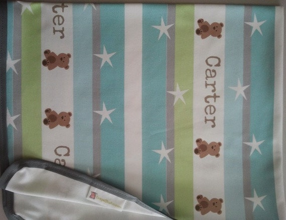 Garden Stripes Friends 1 Blue - Organic Cotton Personalized Baby/Toddler  Blankets, Personalized Baby Boy Blanket, Babyshower Gift