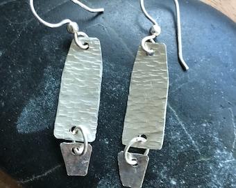 Sterling silver hand hammered drop & dangle earrings.