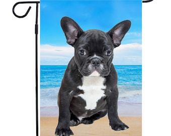 French Bulldog on Beach Garden Flag