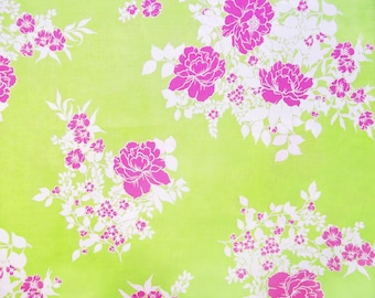 Linen cotton fuschia flowers and white on a green background
