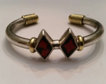 Vintage Taxco Bracelet Sterling Silver Cuff Mexico Brass/Gold Wire Black Red Inlay 27 grams