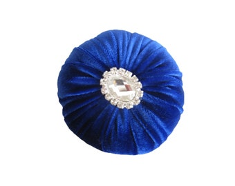 "3.5"" Royal Blue Velvet Sewing Pincushion with Rhinestone"