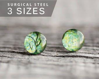 Forest post earrings, Surgical steel stud, Tiny earring studs, Cezanne stud earrings