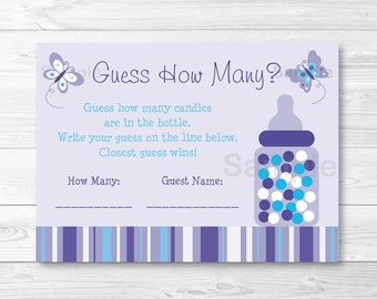 Butterfly Guess How Many Game / Butterfly Baby Shower / Candy Guessing Game / Lavender Butterfly / INSTANT DOWNLOAD A373