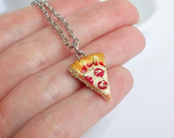 Pizza slice fastfood necklace charm pendant handmade miniature food realistic pizza is love pizza is life