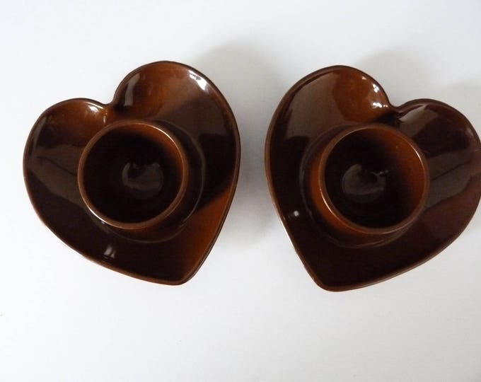Brown 1970s vintage Danish heart egg cups