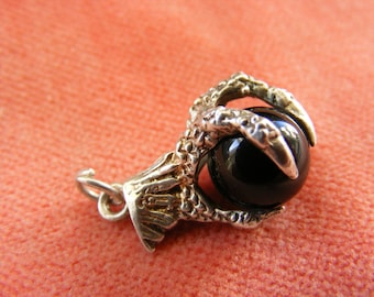 G) Vintage Sterling Silver Charm Black orb in a dragons claw