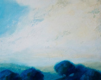 Original acrylic landscape painting with blue trees, big sky and clouds.