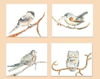4 Bird Prints, Bird Nursery art, Girl's Nursery Decor, Baby Girl Gift, Peach, Orange, Gray, Watercolor Birds, Bird Wall Art, Bird Decor