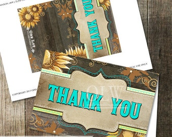 Yellow Sunflower Thank You Card, Turquoise Thank you, Printable Thank you card, DIY Printable Greeting Card, Instant Download, DIY Card