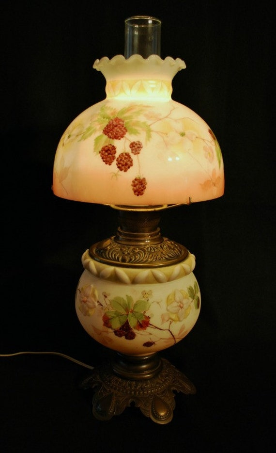 Items similar to replacement glass lamp shades for antique lamps hand painted and kiln fired on etsy