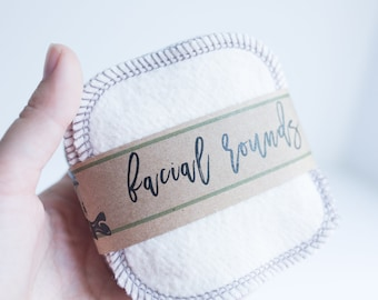 """Hemp and Organic Cotton Rounds  Organic Cotton Thread Make-up Remover  Facial Rounds - 4"""" Face Wipes  Choose your quantity  DOVE GREY THREAD"""