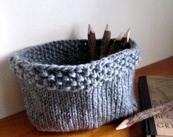 Knit Basket Pattern - Knitted Bowl Pattern - DIY Knit Basket PDF Pattern - Knitted Storage Basket Pattern - Chunky Knit Basket Pattern