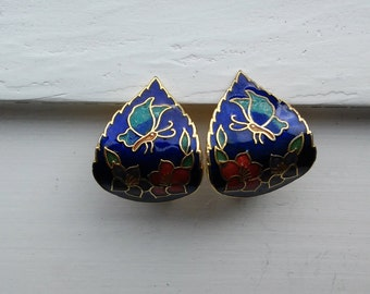 Vintage Cloissone  Blue Butterfly and Flowers Gold Tone Clip On Earrings
