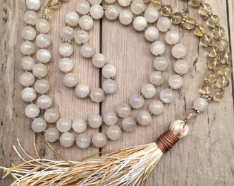 Moonstone and Citrine Mala Necklace/108 Mala Beads/Hand-Knotted/Silk Tassel/November Birthstone/Pregnancy Mala/Solar Plexus Chakra/Zen Mala